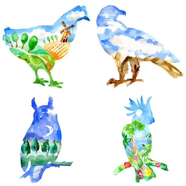 Watercolor Birds 100